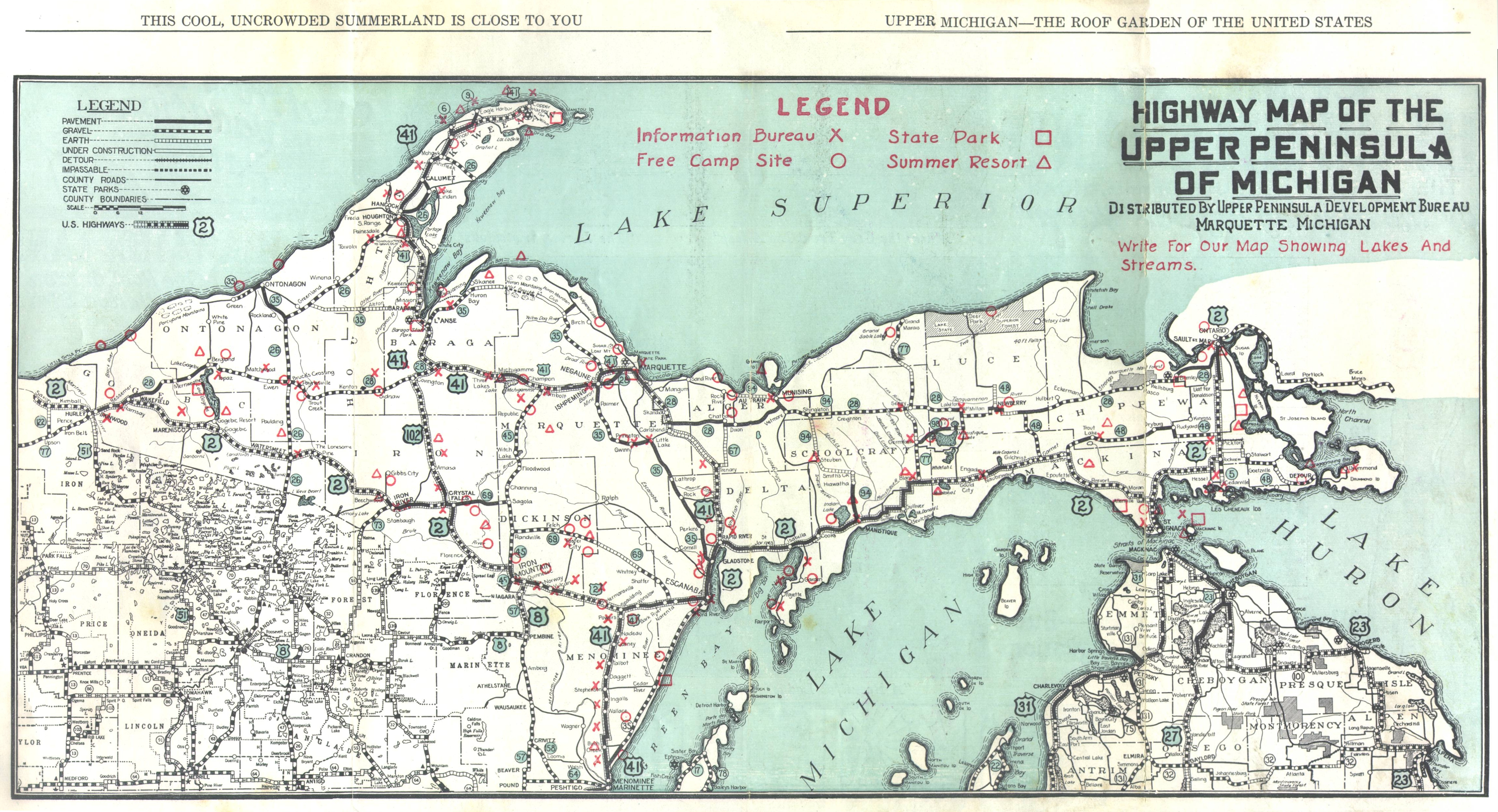 Upper Peninsula Road Map  Viewing Gallery